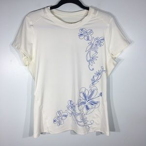 Athleta white top with blue floral embroidery